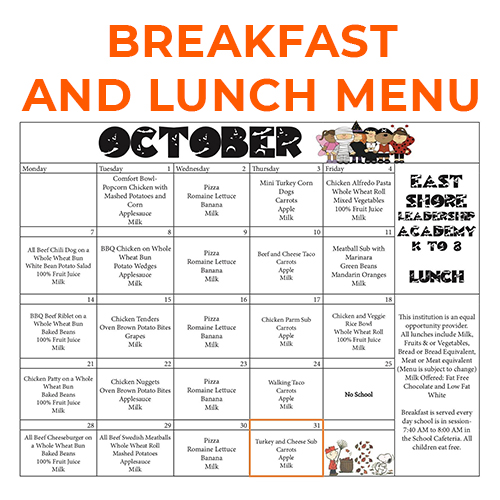 October 2019 Breakfast and Lunch Menu