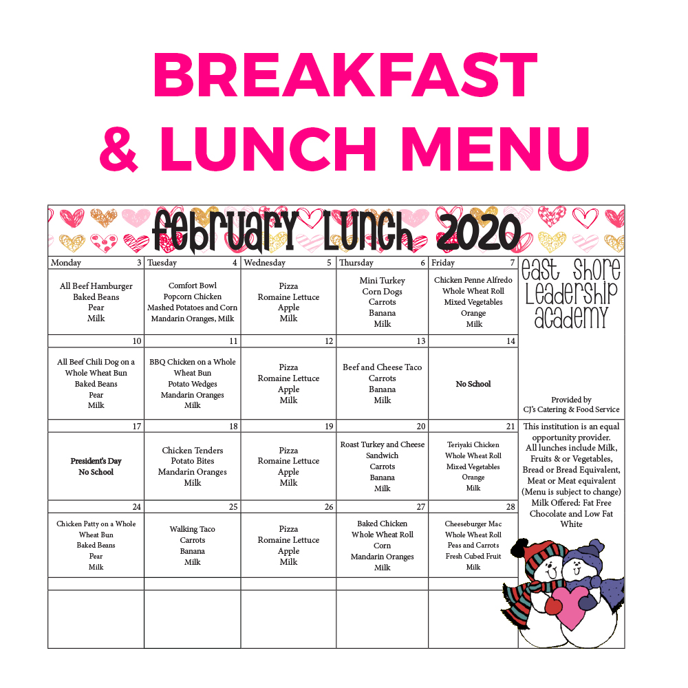 Breakfast and Lunch Menu - February 2020
