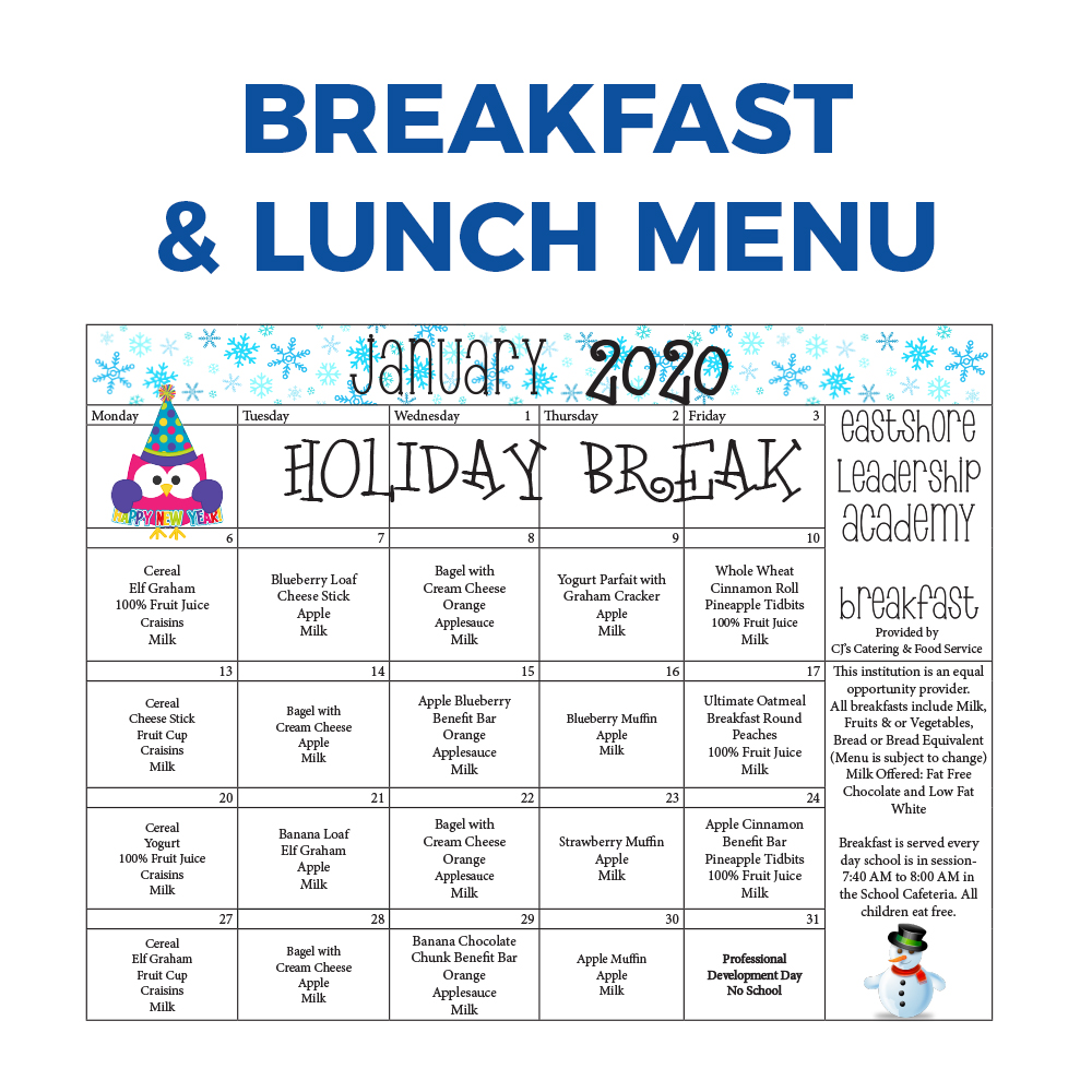 January 2020 Breakfast and Lunch Menu