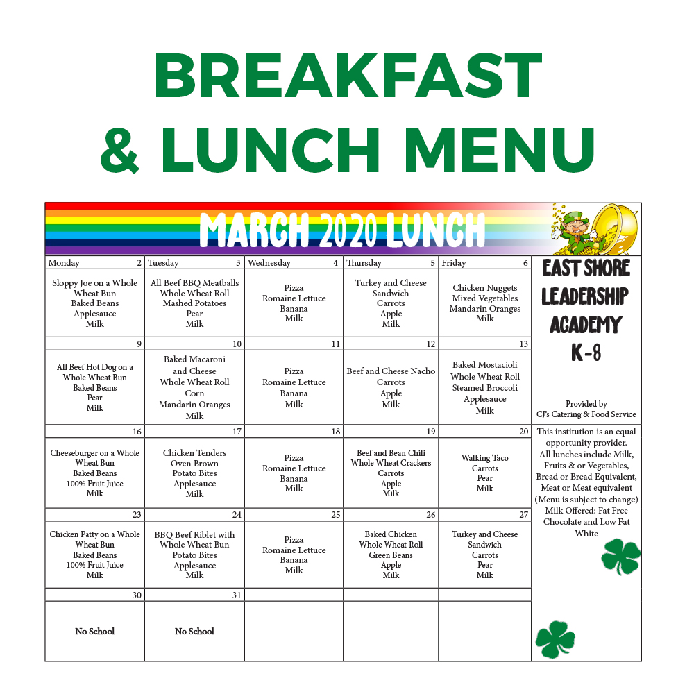 ESLA Breakfast and Lunch Menu March 2020