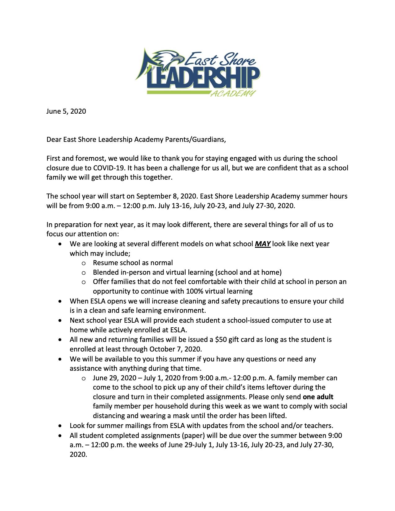 Parent Letter - June 5, 2020