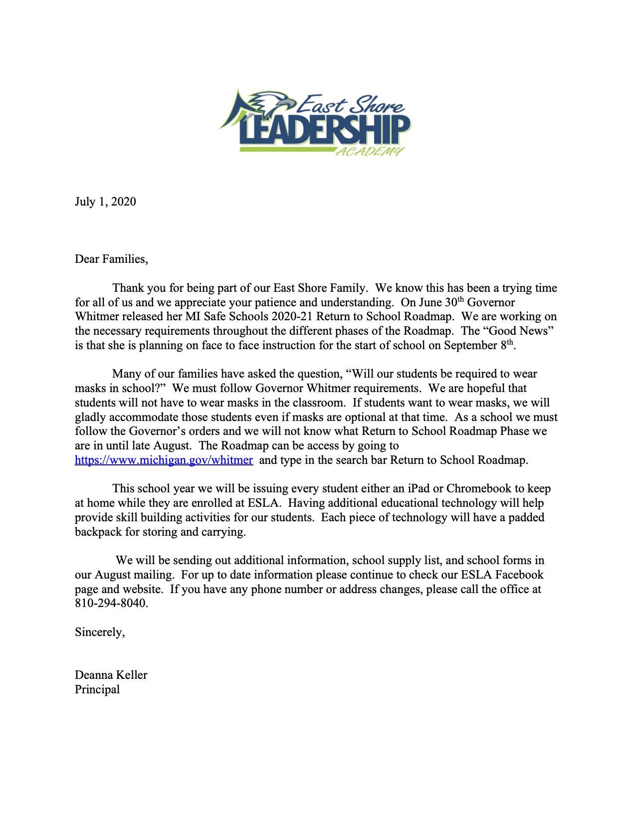 Parent letter June 2020