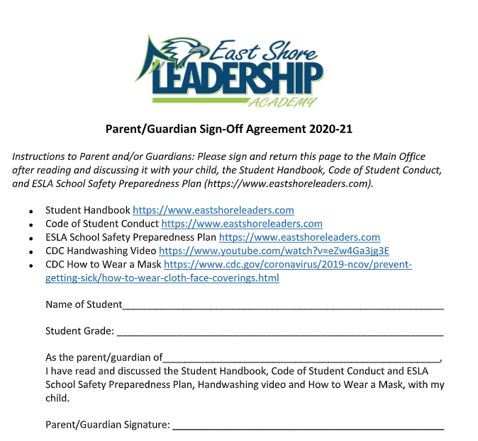 East Shore Leadership Academy Sign Off Form