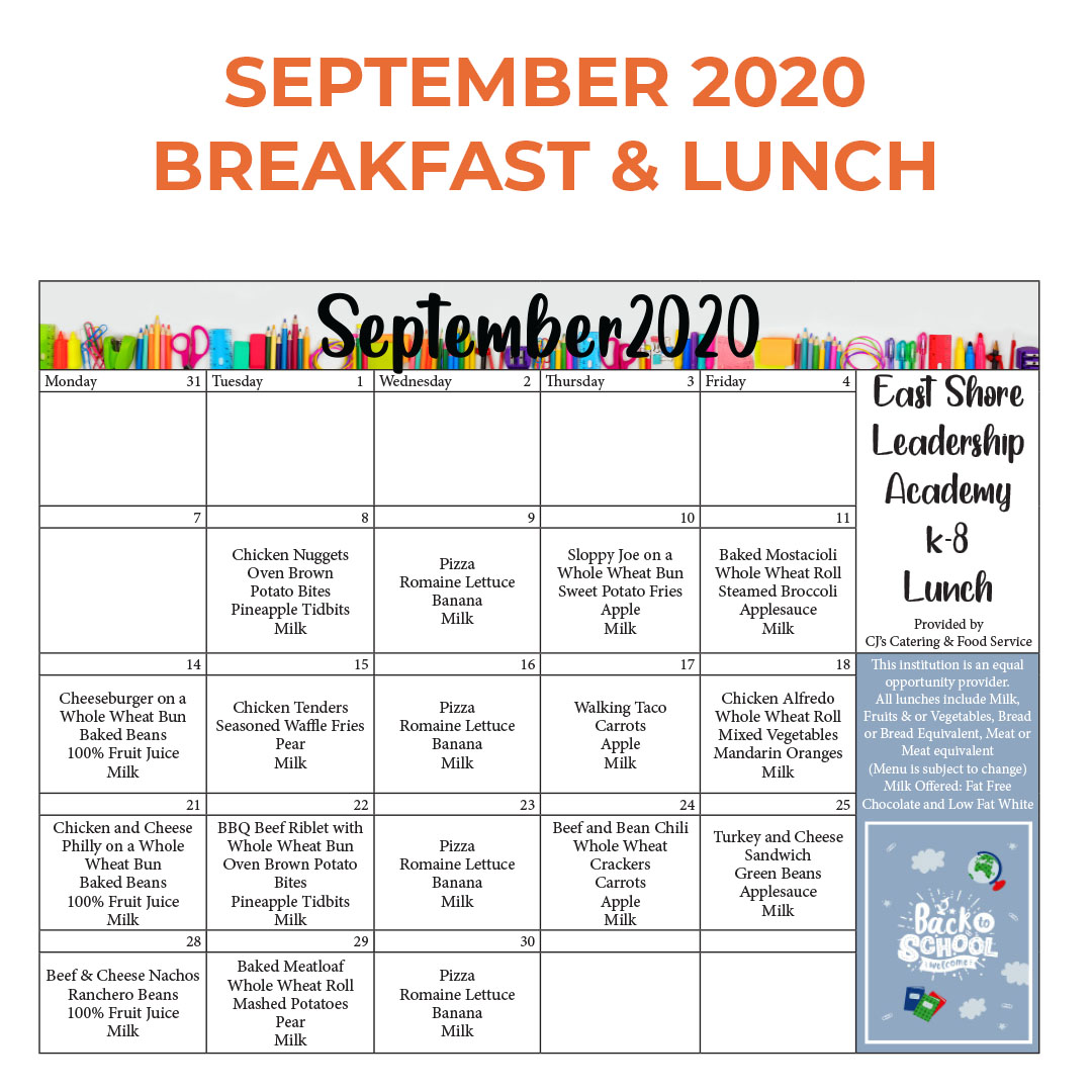 East Shore Leadership Academy SEPTEMBER 2020 BREAKFAST & LUNCH