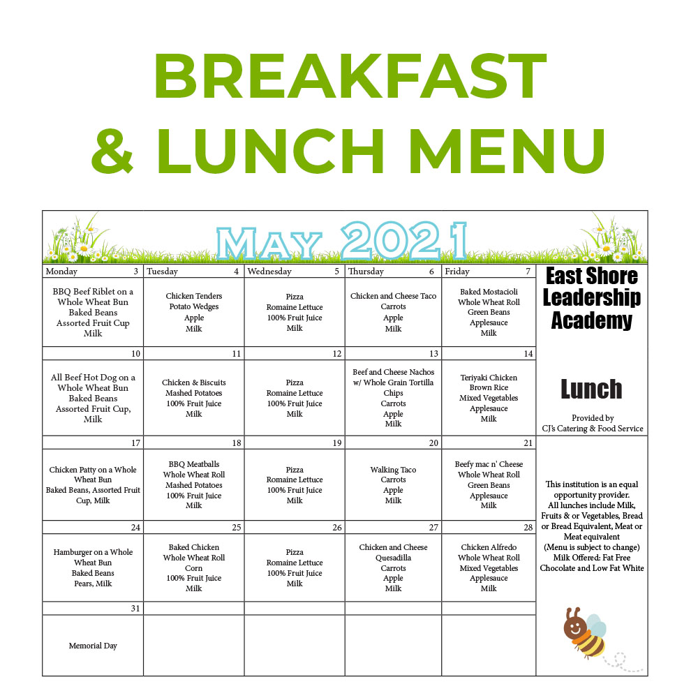 Breakfast and Lunch Menu May 2021
